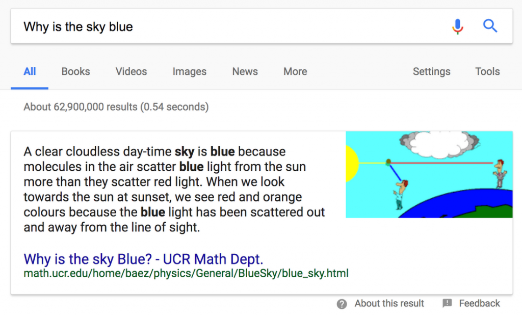 An example of Google's featured snippet. Also called Position Zero.