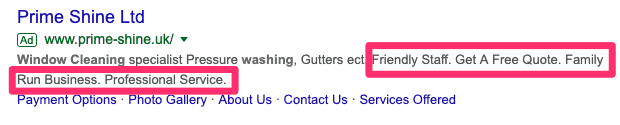 Callout Google Ad extensions