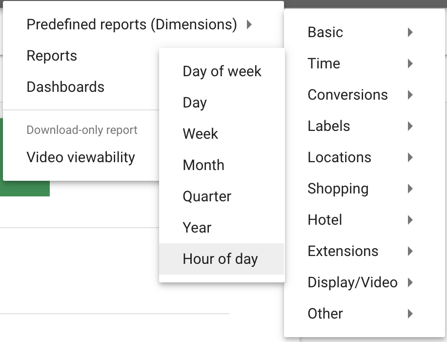 Use the hour of the day report for help with Google ads
