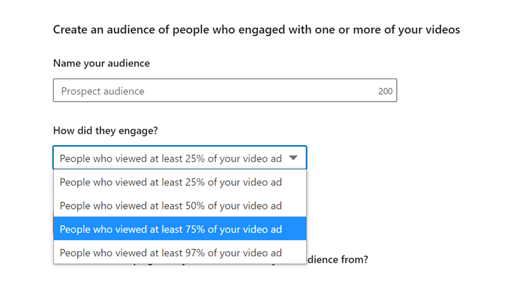 remarketing linkedin ads for video engament