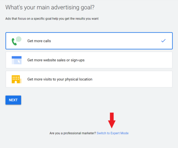 Switch to expert mode to learn how to setup google ads