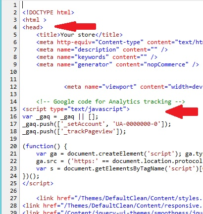Where is the Google analytics code in a website?