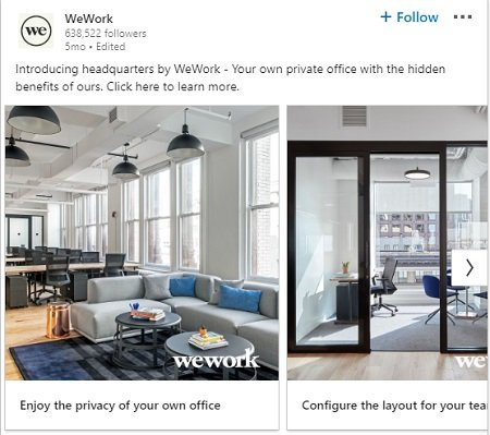 WeWork using a carousel ad to great effect